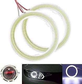 Qiilu 1 paire Auto Halo Anneaux Angel Eye COB Puces Phare DRL LED Pour Voiture De Moto 60mm