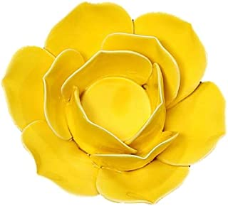 Vosarea Ceramic Lotus Petals Style Flower Candle Holder Tea Lights Holder Home and Table Top Decoration(Lotus Yellow B)