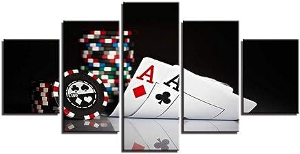 QUADRO MODERNO POKER GAME IV QUADRI MODERNI SU TELA  CARTE POKER ARREDAMENTO
