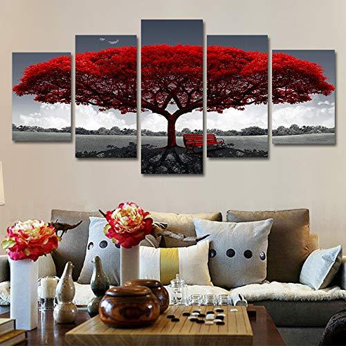 YuanMinglu Roter großer Baum fünf, der dekorativen Segeltuchanstrich des modernen Familienwohnzimmers rahmenlosen Kern L062 40X60cmX2 40X80cmX2 40X100cmX1 Malt