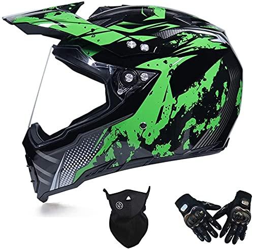 LLDKA Casco de Motocross con Visrière, ventilación Ajustable, máscara de Casco Cruzado, Auriculares integrales de Casco (Color : Green, Size : M)