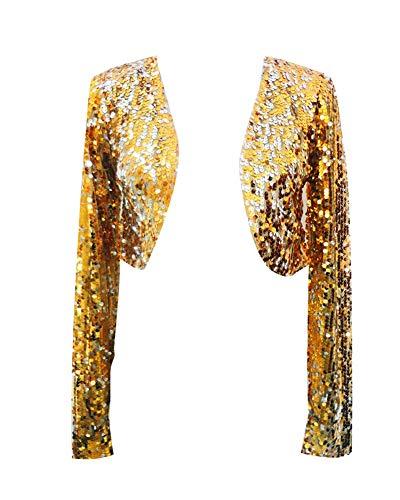 Bolero Donna Elegante Manica Lunga Glitter Paillettes Blazers Giacche Giacca Cardigan Top Oro