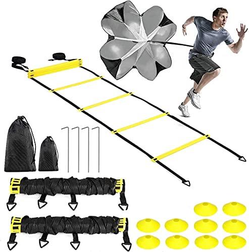 Buluri Set di Agilità velocità Allenamento, 12M Agilità Scaletta con Coni a Sportivi & Paracadute di Resistenza, Equipaggiamento per Esercizio velocità per Calcio Pallacanestro Multisport
