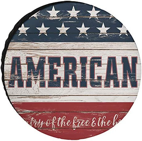 Spare Tire Covers 17inch Cover for Jeep Trailers Cars Rvs SUV Camper Rustic Wood American Custom product image