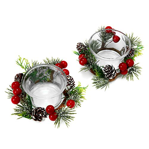 OYATON Christmas Votive Candle Holders with Snowy Pinecone Berry Candle Ring, Decorative Glass Tealight Candle Holder Set of 2 for Home, Wedding, Living Room and Bedroom Decor(Exclude Candles)