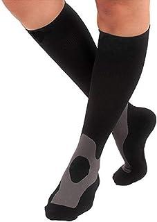 Woman Men's winter Socks Sport Thermal socks Running Cycling Climbing Fitness Long Compression Deodorant Basketball Stockings Best for Cycling, Running, Travel, Pregnancy, Flight,Black,L