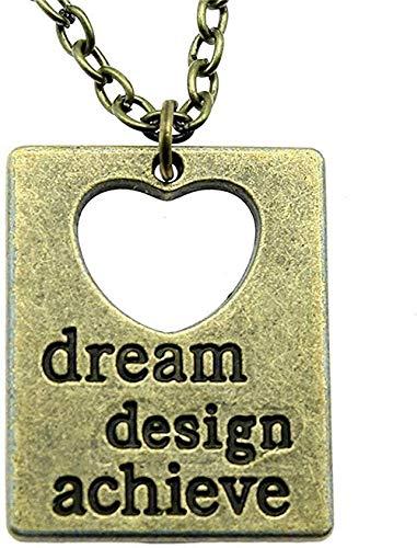 Yiffshunl Collar Collares para Mujer Dream Design Achieve Colgante Collar 30X23Mm Joyería de Color Bronce Antiguo