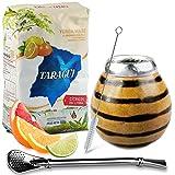 Juego de té mate: Yerba Mate Taragui Citricos del Litoral, 0,5 kg, vaso mate de calabaza (tigre), hecho a mano, calabaza, pajita mate de acero inoxidable, bombilla y cepillo de limpieza