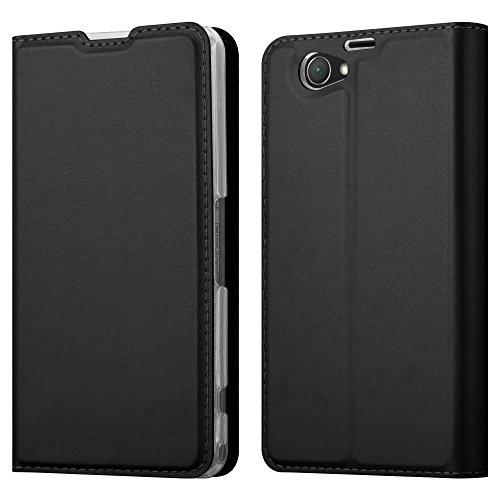 Cadorabo Funda Libro para Sony Xperia Z1 Compact en Classy Negro - Cubierta Proteccíon con Cierre Magnético, Tarjetero y Función de Suporte - Etui Case Cover Carcasa