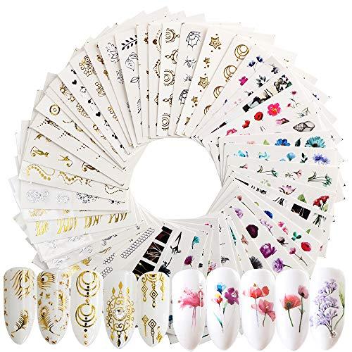 JNCH 54Pcs Gold Nagelsticker Silber Wassertransfer Blumen Nagelsticker Nail Art Stickers Set Nagel Aufkleber Selbstklebend Nail Kunst Aufkleber für Frauen Mädchen Maniküre DIY Nagelstudio
