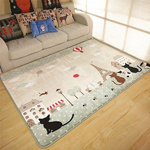 Alfombra antideslizante para salón con diseño de gatos y edificios, se puede lavar a máquina (130 x 185 cm)