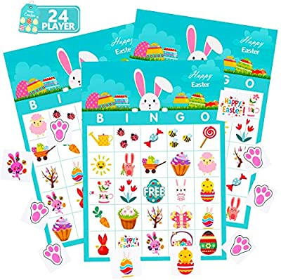 FUNNISM Easter Day Bingo Game Cards, 24-players Bingo Card Games for Adults, Family and Kids, Easter Day School Classroom, Offices and Family Activities Crafts, Easter Day Party Games Favors Supplies