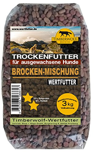 TimberWolf Hundefutter, Brockenmischung, Trockenfutter 3 kg Packung (kg 2,32 €)