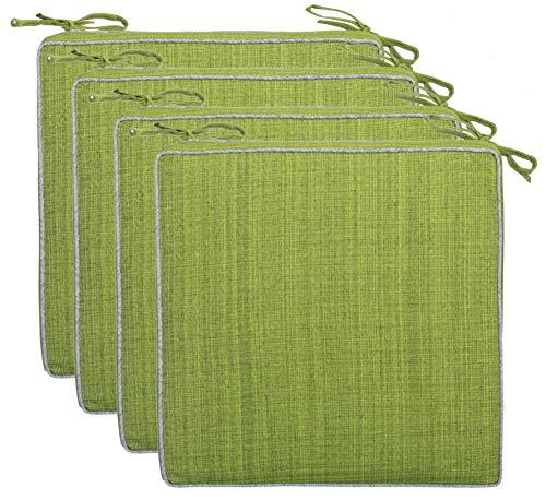Brandsseller Outdoor Garten Sitzkissen Auflagen Kissen mit Paspel - Leinenoptik Uni - Schmutz- und Wasserabweisend mit Befestigungsbändern - 40 x 40 x 4 cm - 4er Vorteilspack - Grün