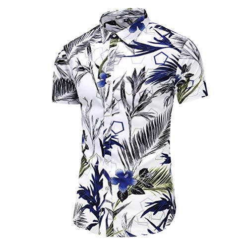 RelaxLife Camisa de Manga Corta para Hombre Camisa De Manga Corta De Verano Camisas Hawaianas De Playa De Flores Ocasionales para Hombre Camisas Florales De Corte Slim para Hombres Tallas Grandes 5X