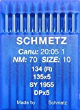 SCHMETZ - 10 agujas redondas para máquina de coser, sistema 134 (R), industrial, St. 70