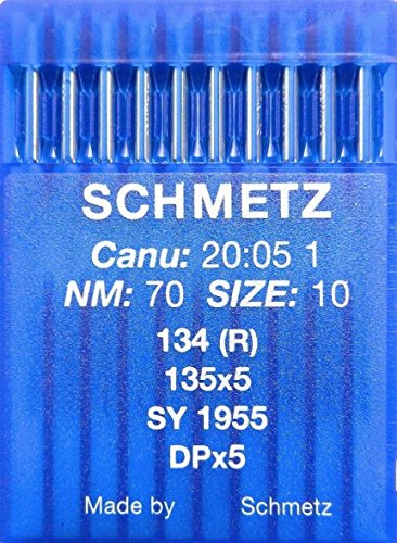 SCHMETZ 10 agujas redondas para máquinas de coser sistema 134 (R), industria, St. 70
