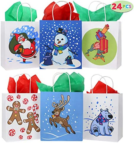 24 Christmas Kraft Paper Gift Bags with Handles Blue and White with Assorted Christmas Prints product image