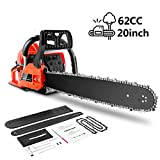 Chainsaw, 62CC 20' Gas Powered Chainsaw with 2 Stroke Handed Petrol Chain Saw for Farm, Garden and Ranch with Tool Kit (Orange)