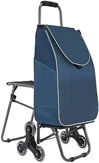 LQBDJPYS Shopping Cart Climbing Stairs Folding Luggage Cart Trolley Car with Chair PortableStroller Side Bag Design Densit...