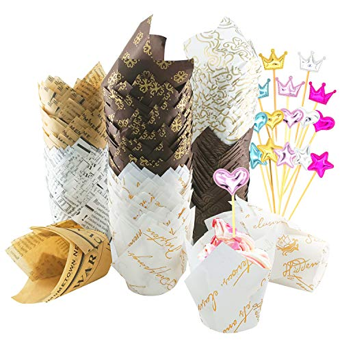 Tulip Cupcake Liners 300PCS,Free-Air Food Grade Paper Baking Cups Cupcake Wrappers,5oz Tulip Cups Muffin Liners for Wedding Birthday Party Bakery,with 15 Decorations