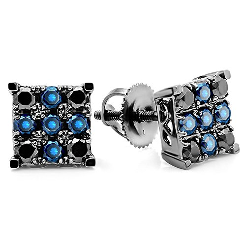DazzlingRock Collection 1,00 quilates (CTW) 18k de oro blanco redondo en forma de cuadrados pendientes de los hombres de azul y negro de diamantes 1 ct