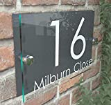 House Sign Modern Glass Effect Acrylic Door Number Name Road Plate Plaque