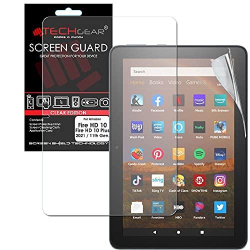 TECHGEAR Bildschirmschutz Kompatibel mit Neue Amazon Fire HD 10 / HD 10 Plus Tablette (2021 11. Generation) Ultra Klare Schutz Folie mit Reinigungstuch + Applikationskarte