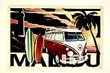 DiiliHiiri Cartel de Chapa Vintage Decoración, Letrero A4 Estilo Antiguo de metálico Retro. (Malibu VW)