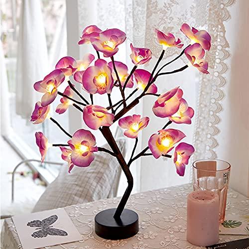 WXYI Lámpara de árbol de rosas de mesa, luz de noche, lámpara de árbol de luz de hadas, 24 luces LED para sala de estar, dormitorio, color negro, Phalaenopsis