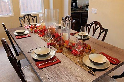 AEON FURNITURE LTD Table de salle à manger en chêne rustique foncé avec pieds 100 % bois jusqu'à 6 places