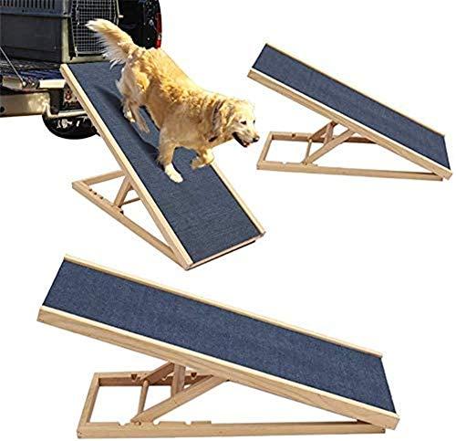 SIMNHMP Höhenverstellbare Holz-Hunderampen mit rutschfestem Teppich Kleine große Hunde Tragbare Treppe Haustierleiter für das Aufsteigen auf das Bett Couch Bett Sofa Auto, Last 60 kg