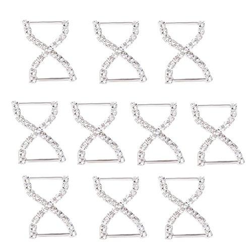 Harilla 10 Piezas de Metal Bowknot Conector Hebilla Cadena Plateada DIY