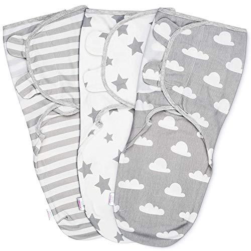 Baby Pucksack Wickel-Decke - 3er Pack Universal Verstellbare Schlafsack Decke für Säuglinge Babys Neugeborene 0-3 Monate Grau
