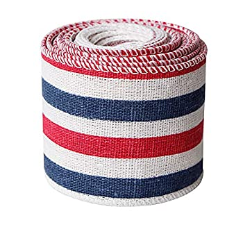 Patriotic Ribbon Rustic Blue Red White Burlap Ribbon 2inch Memorial Day President s Day 4th of July USA Wired Ribbon for Wreaths Trees Crafts Holiday Decorations 5yards