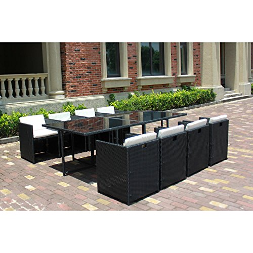 JFB Le Vito : Salon Jardin Noir encastrable en résine 8 fauteuils