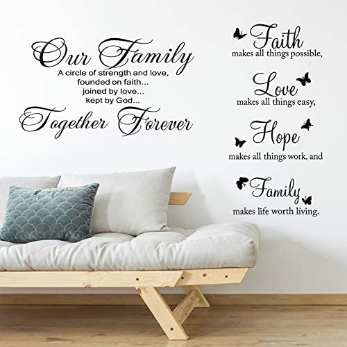 2 Pieces Vinyl Wall Quotes Stickers Faith Hope Love Family Scripture Wall Stickers Bible Verse product image