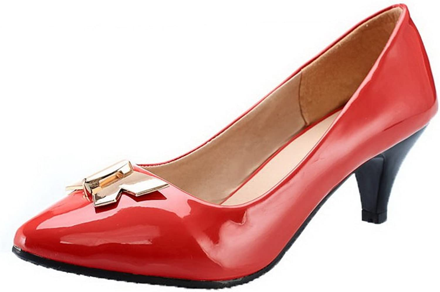 AllhqFashion Women's Closed-Toe Kitten-Heels Patent Leather Pull-On Pumps-shoes