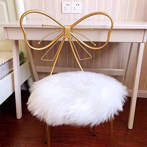 YJ.GWL Fluffy Faux Fur Sheepskin Chair Cushion Covers Sofa Pad Soft Shaggy Circular Rug for Living Room Bedroom Floor Nursery Area Rug White 35 x 35 cm Round, Christmas Rug Thanksgiving