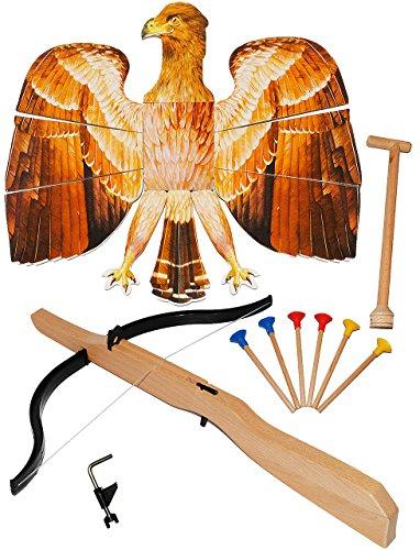 alles-meine.de GmbH XL Set: Vogelschießen - Bogenschießen / Adlerschießen -  Vogel braun - Nostalgie  + Armbrust + 6 Stück Holzpfeile + Befestigungssystem - stabiles Holz - für..