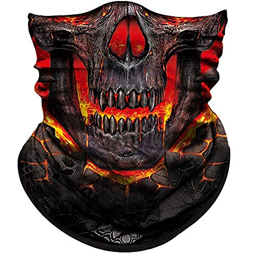 Obacle Skull Face Mask Half for Dust Wind UV Sun Protection Seamless 3D Tube Mask Bandana for Men Women Thin Breathable Skeleton Mask Motorcycle Riding Biker Cycling Sports Festival (Fire Face Skull)