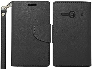 Luckiefind Compatible with Alcatel One Touch Evolve 2 / 4037T, Alcatel Pixi Pulsar A460G, LF Premium PU Leather Flip Wallet Credit Card Cover Case. (Wallet Black)