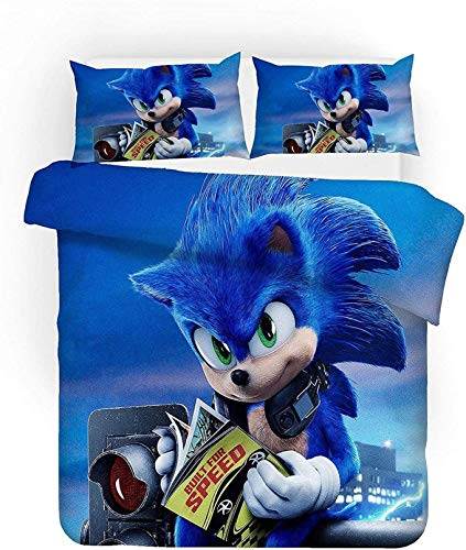 BATTE Sonic Duvet Dover Set, 3D Digitaldruck Sonic Anime Digitaldruck Mikrofaser Bettbezug Junge Bettwäsche Versteckter Reißverschluss (E,135 x 200 cm)