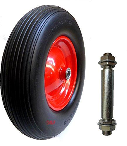 PU Schubkarrenrad 4.80/4.00-8 Reifen für Schubkarre Vollgummi mit Achse