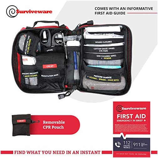 Surviveware Small First Aid Kit with Labelled Compartments for Hiking, Backpacking, Camping, Travel, Car and Cycling. 5