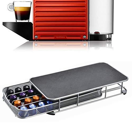 Cajón para cápsulas de café, 40 unidades, 4 filas, dispensador de red de hierro, red de hierro Nespresso, unidad de almacenamiento para Caffitaly Dolce Gusto, No nulo, gris, Tamaño libre