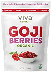 """JUICIEST """"SUPER GRADE"""" GOJIS - Viva Labs selectively handpicks our super grade gojis that are naturally shade dried to perfection in the Tibetan plateau of the Himalayas. Super grade comprise only a fraction of goji berry harvest, which lend the juic..."""