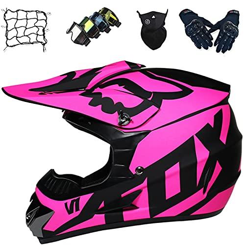 Casco Moto Niños, Casco de Motocross Niñas Set con Diseño Fox, Casco Integral para Motocicleta Todo Terreno para Downhill Enduro Scooter BMX MTB Quad ATV, Rosa,M