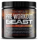 Pre Workout Beast (Tropischer Twist Geschmack) Hardcore Pre Workout Booster mit Koffein, Kreatin Monohydrat, Beta Alanin und Glutamin (306g - 40 Portionen)