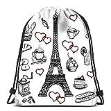 Zaino con Coulisse Borsa da Palestra per Borsa da Lavanderia con Torre Eiffel